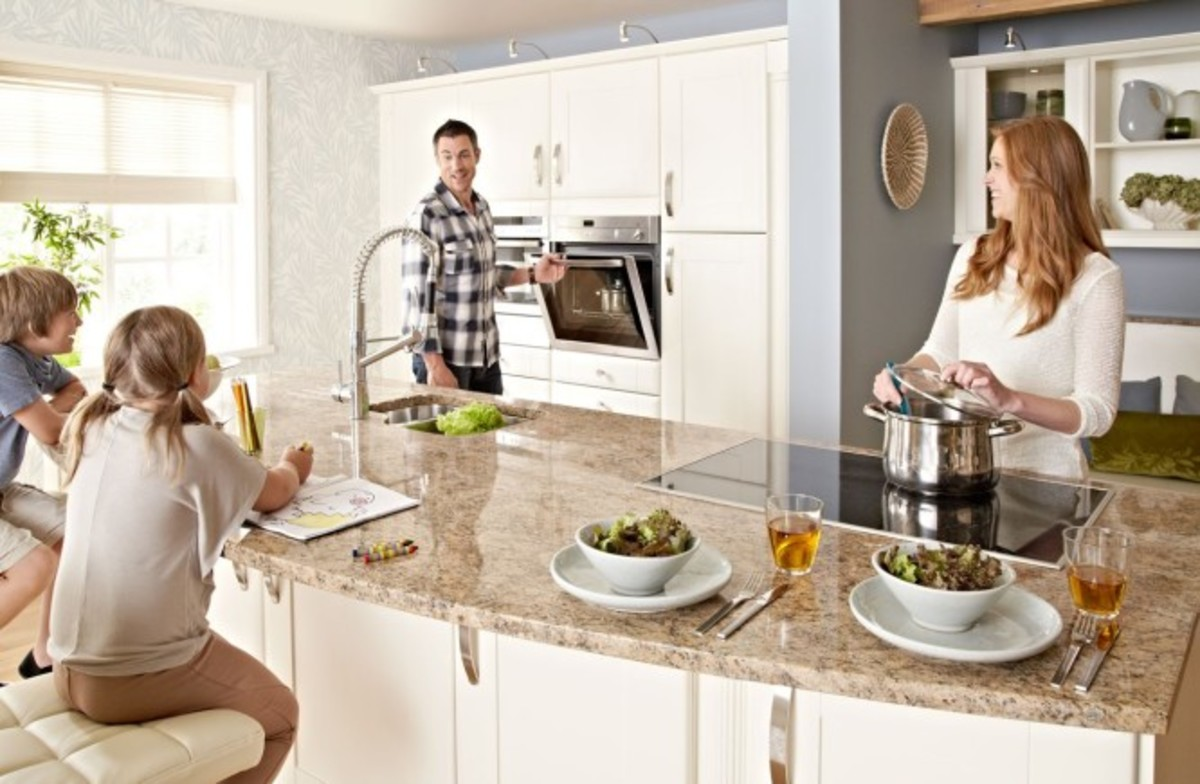 Comfortable stools on the kitchen island counter or work zone is create easy for kids and teens to do homework, sketch, snacks and sitting on the counter. The best part!