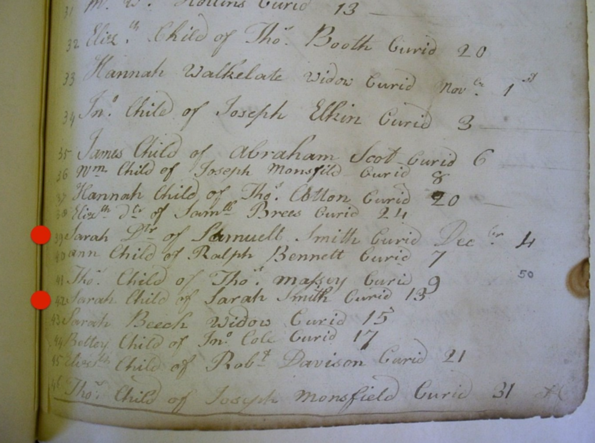 A page of the parish records showing Sarah Smiths death and her daughters below