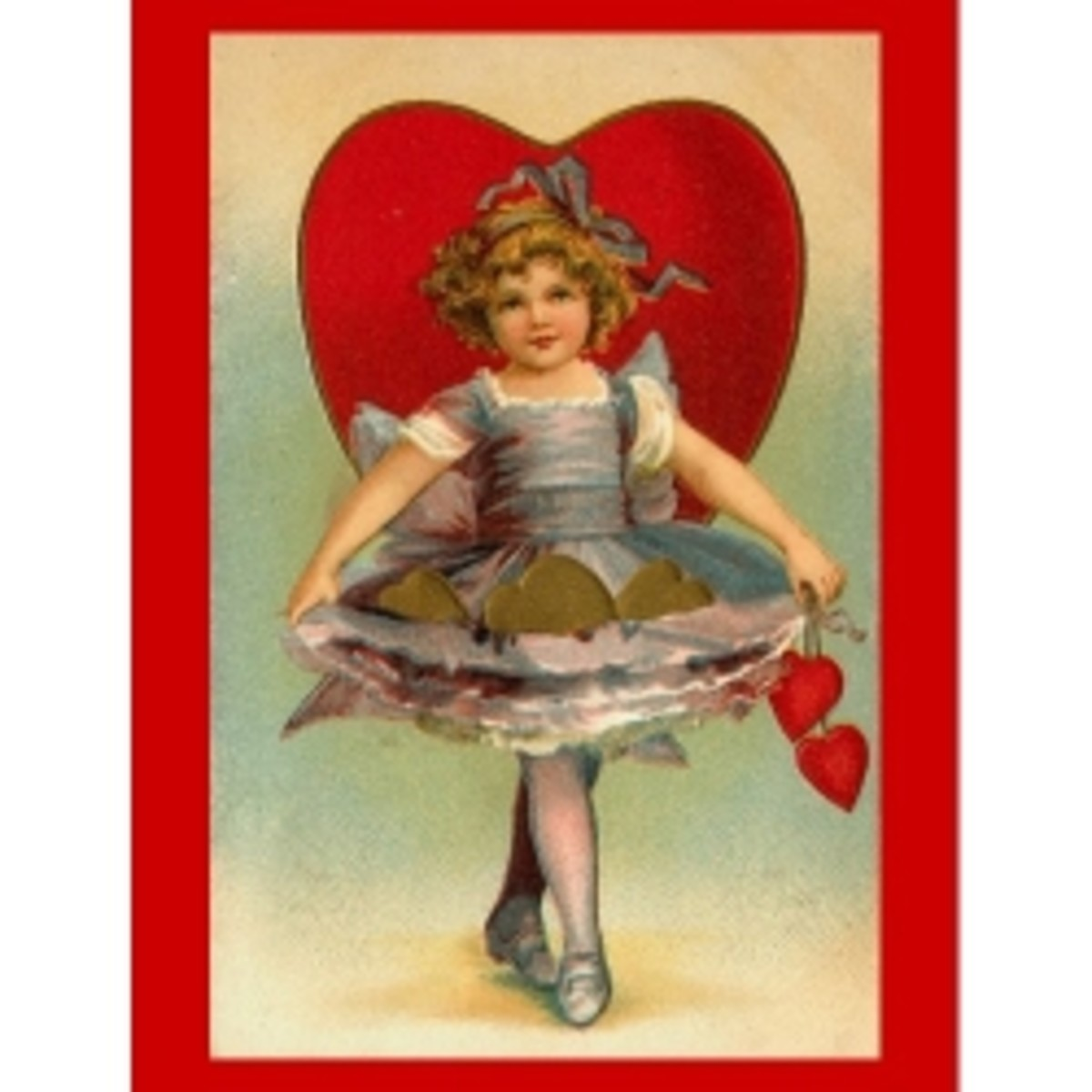I find the old graphics on valentine's so sweet. A good example is this little girl with her frilly dress.