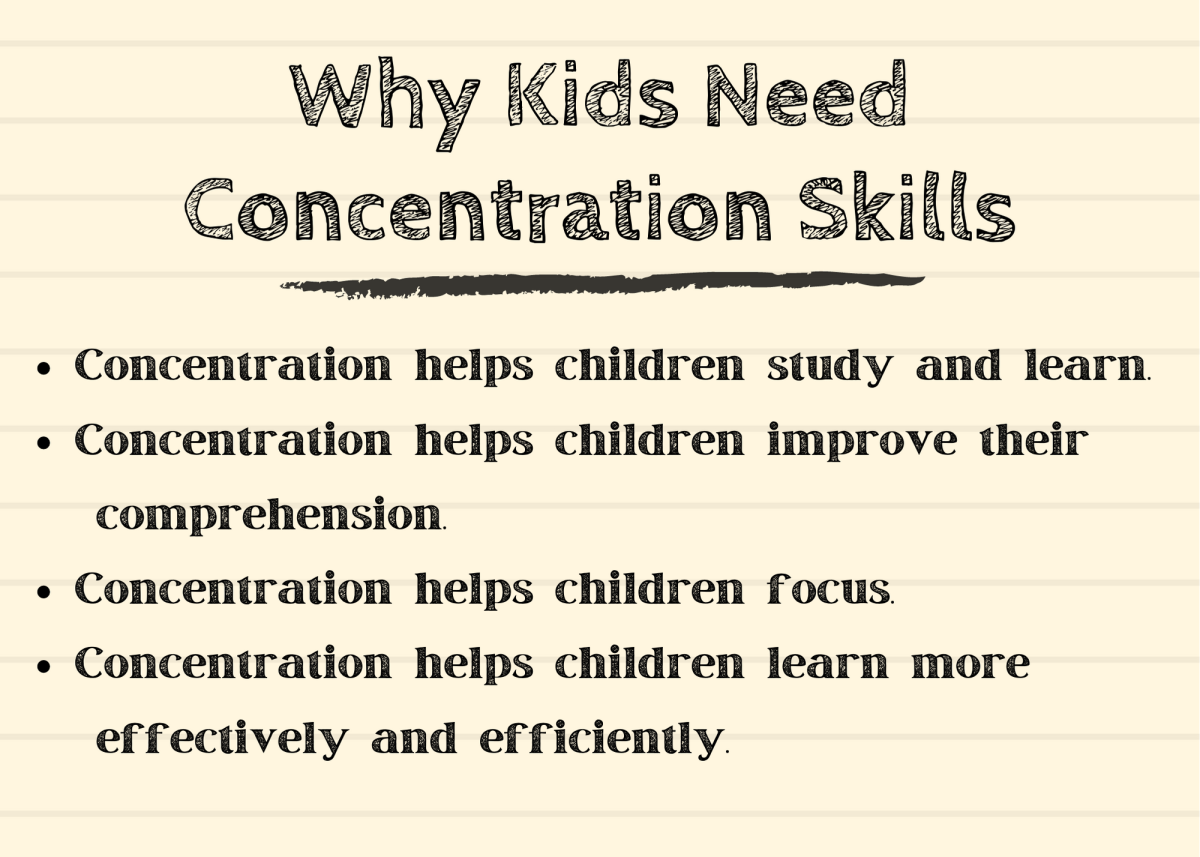 Developing good concentration skills early will help children throughout their lives.