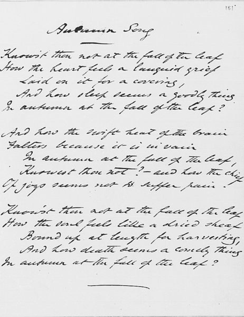 Original manuscript of Autumn Song by Rossetti, 1848, Ashley Library