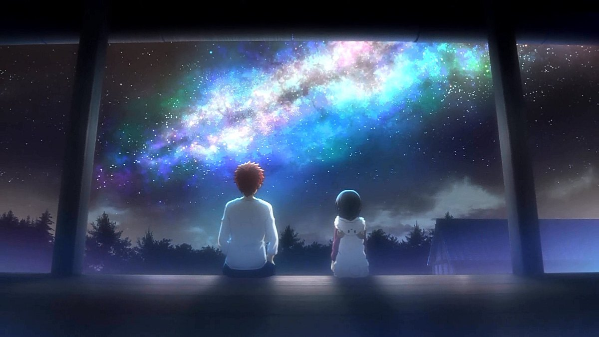 Shirou and Miyu staring up at the sky.