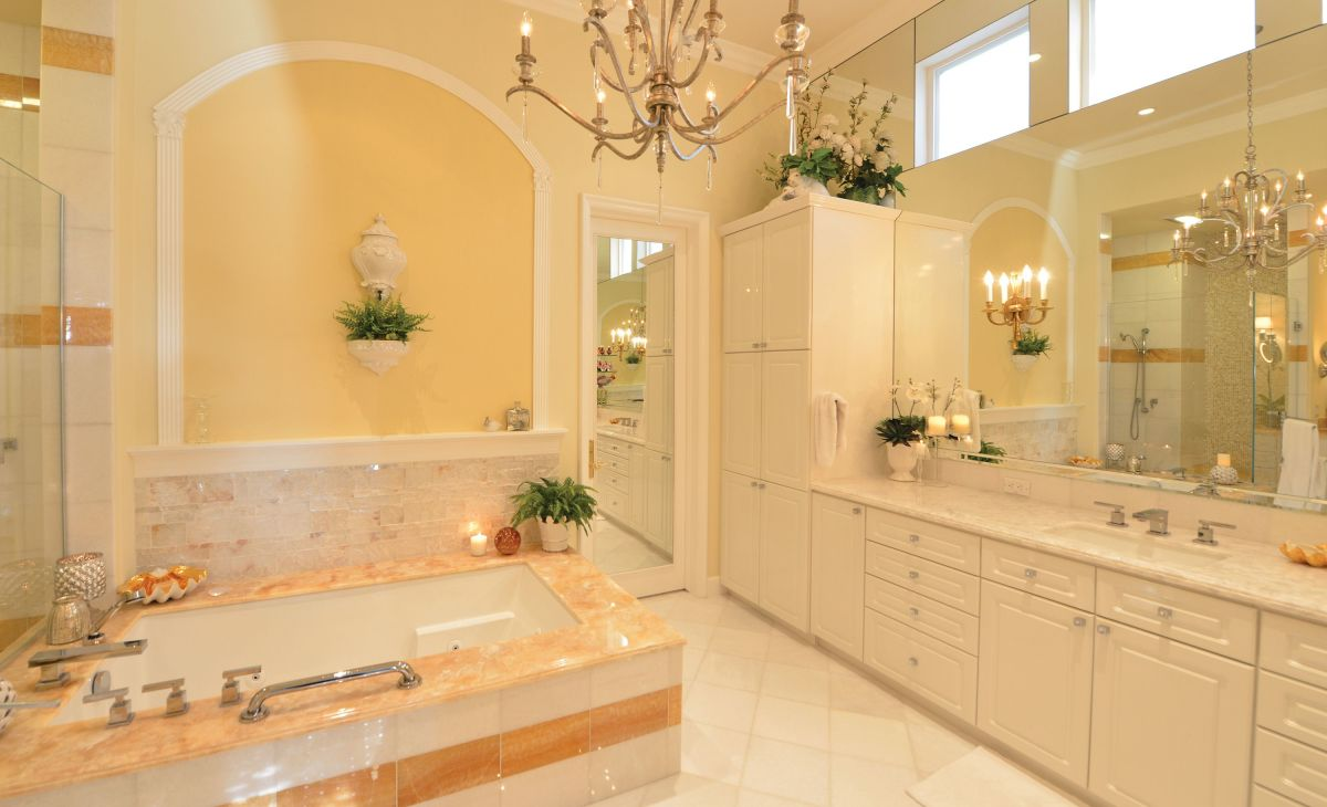 Yellow and pink are both great colors for Leo bathrooms. Adds candles or chandeliers. Look for sharp angles and squares.