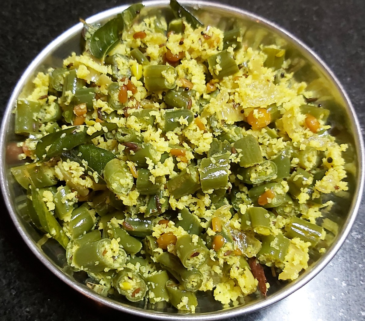 Beans poriyal is ready to serve with rice along with any other side dish.