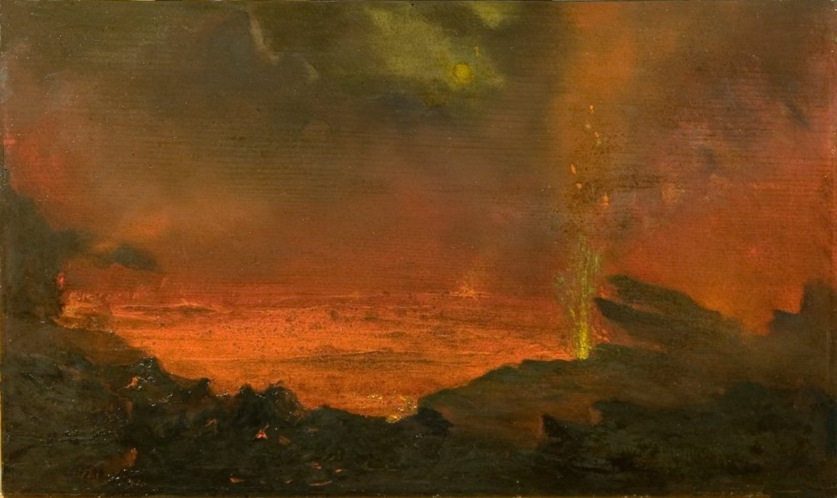 Oil on board painting Halemaumau, Lake of Fire, 10 3/4 x 18 1/16 inches