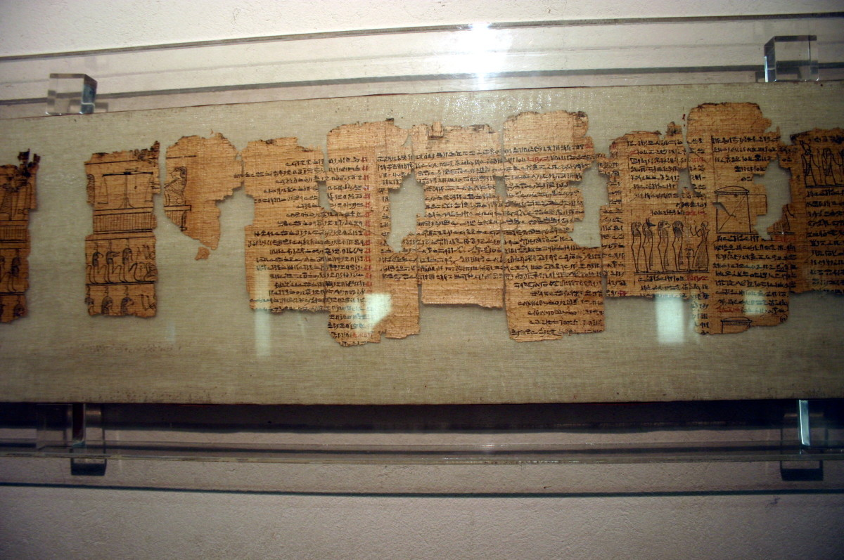 Egyptian Museum in the Castello sforzesco in Milan, Italy. A papyrus displaying a copy of the Book of the Dead, in hieratic writing, dating from the Ptolemaic (i.e. late) period.