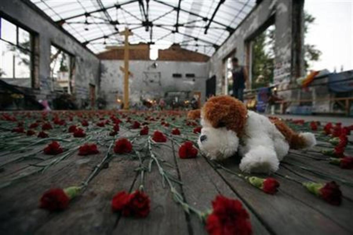 Photo of burned out shell of the gym at Beslan, preserved as a memorial, grim reminder of what had happened