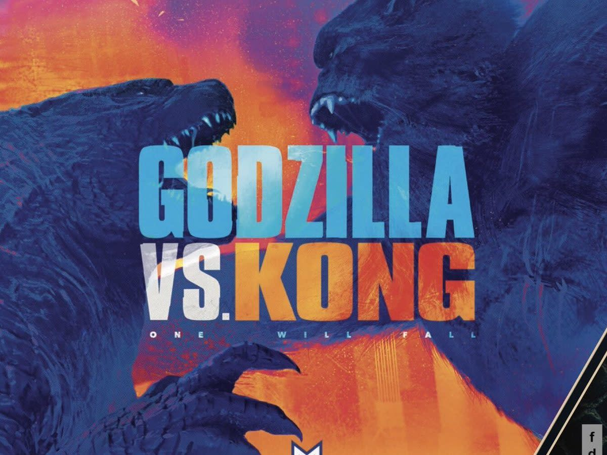 "The official promotional image for, ""Godzilla vs Kong."""