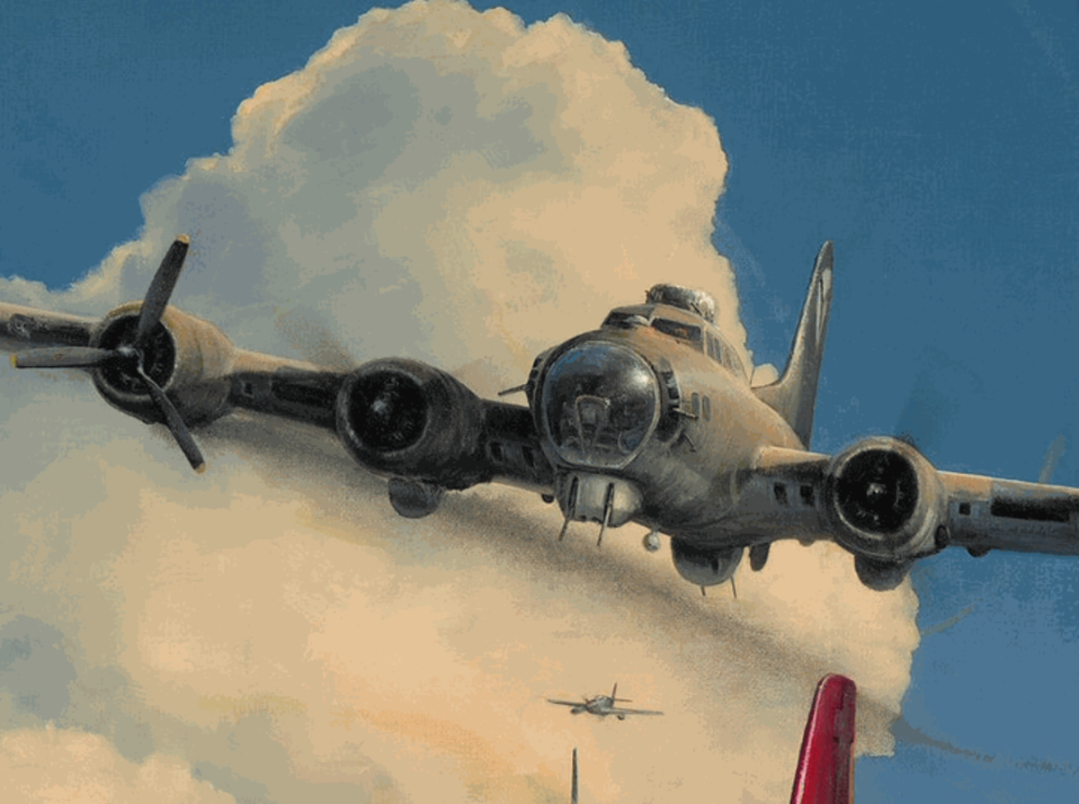 While escorting a bomber to England, Weathers flew beneath the bomber to disguise his presence from possible enemy attack.