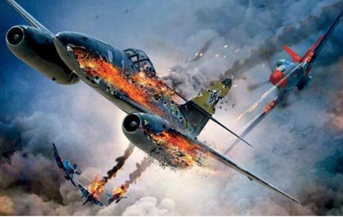 Weathers reversed a hostile situation when he sent an enemy aircraft that had been on his tail, tumbling to the ground.