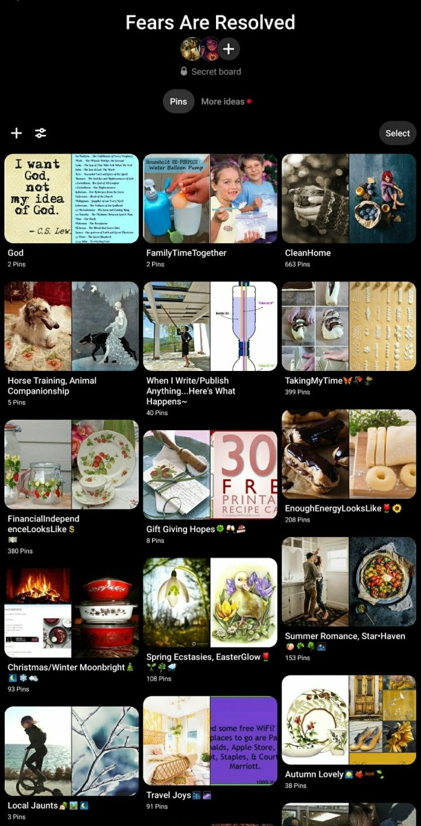 This Pinterest board represented my first serious efforts to imagine living a life without having fear in control. Mostly simple ideas?--yes--yet simplification is a principle of change and growth.