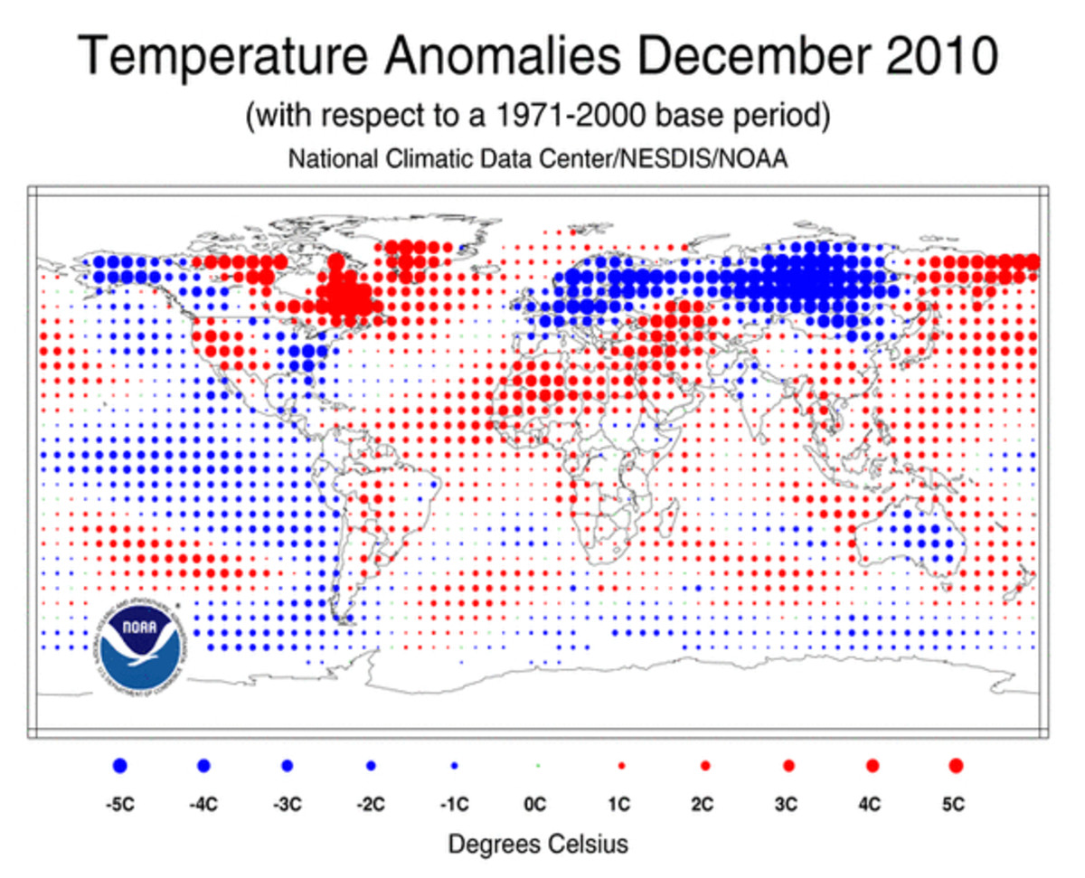 Temperature anomaly map for December, 2010.  Although large areas were colder than usual, still larger areas were warmer, for a slight warm anomaly--.37 C.  It was the coolest December since 2000.  Image courtesy National Climate Data Center.