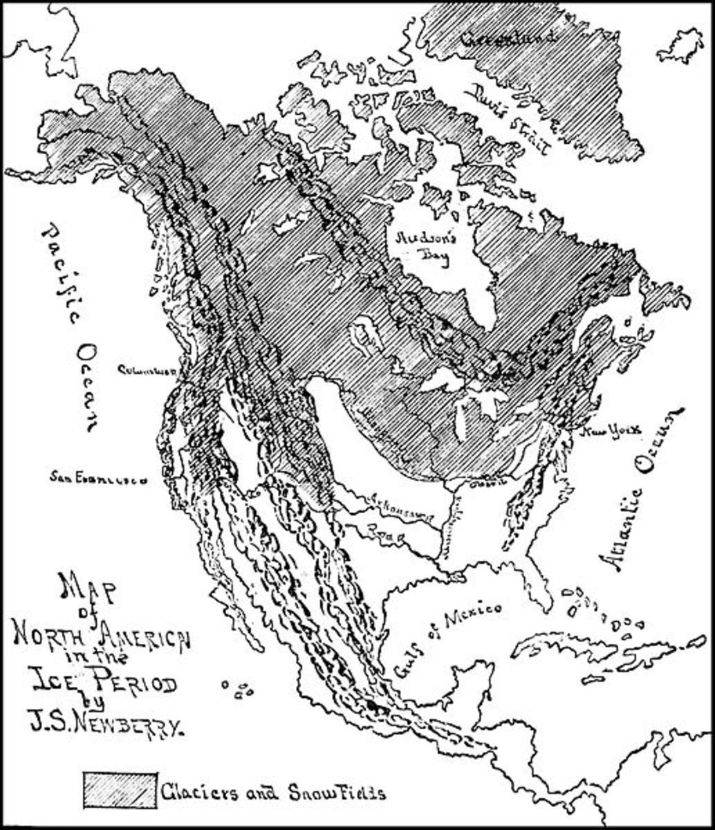 Popular Science's 1887 map of Ice Age North America.