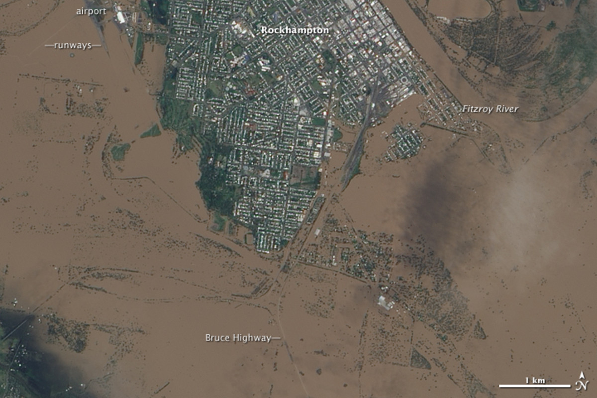 NASA Earth Observatory image of the flooding around Rockhampton, Queensland, Australia, January 9, 2011.