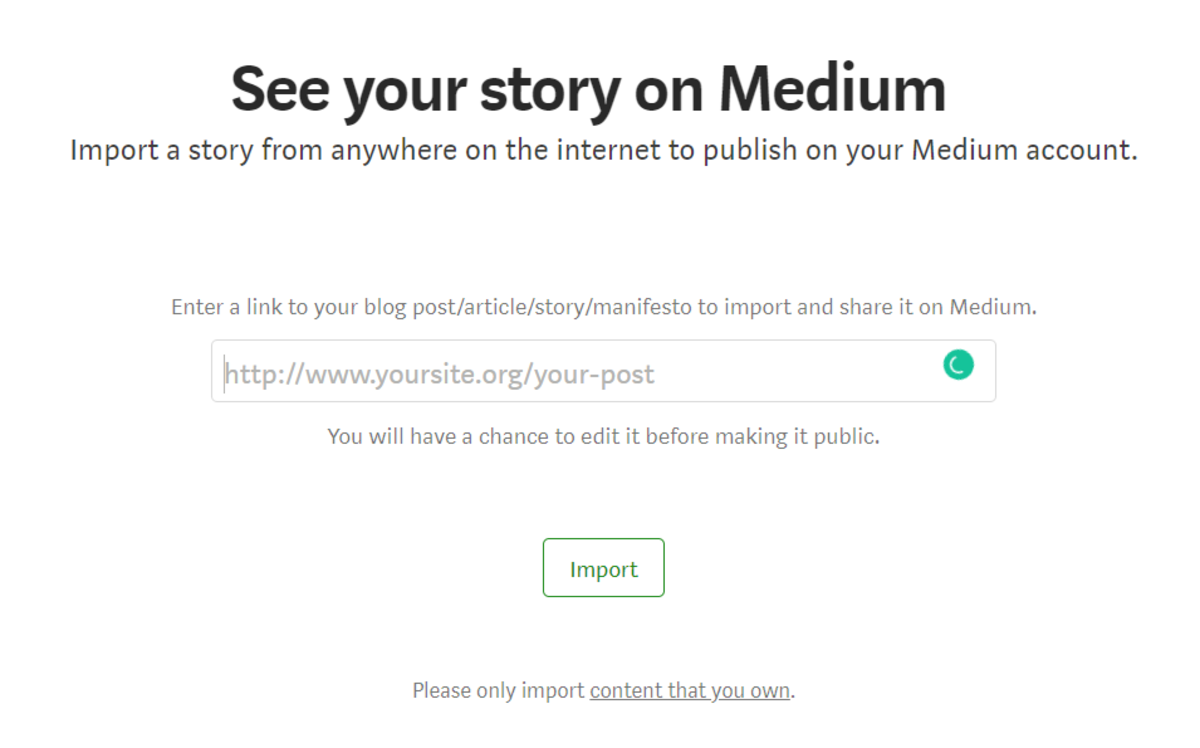 Import A Story in Medium