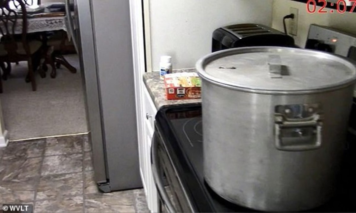 When officers arrived, they found a stockpot boiling on the stove containing the decapitated head of Lisa Guy. Crime scene photo courtesy of WVLT News.