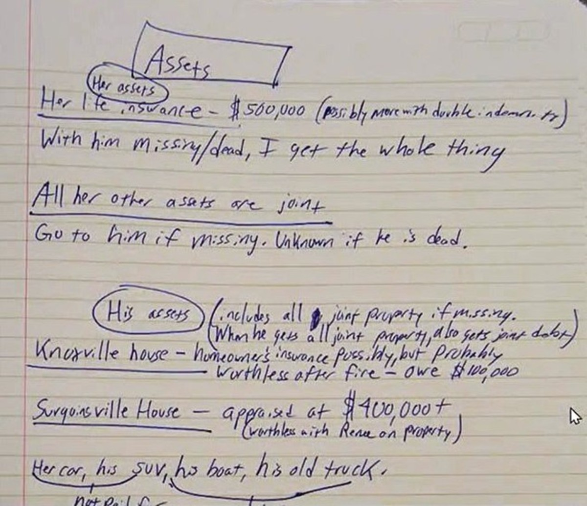 Joel Guy Jr. lists his parent's assets in a diabolic notebook he left inside his parent's home.