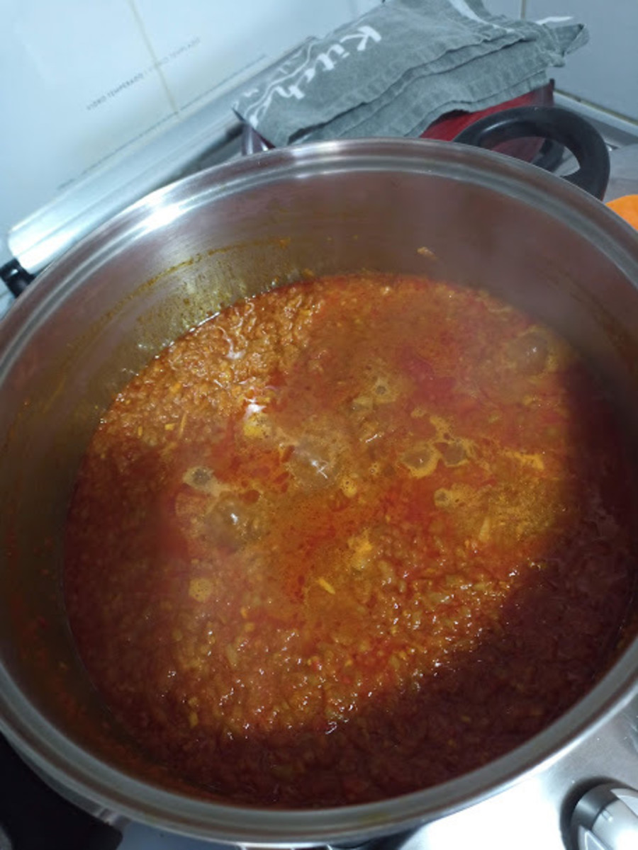 add enough water to make a medium thick soup consistency. leave to simmer for minimum 1/2 hour maximum 1 hour