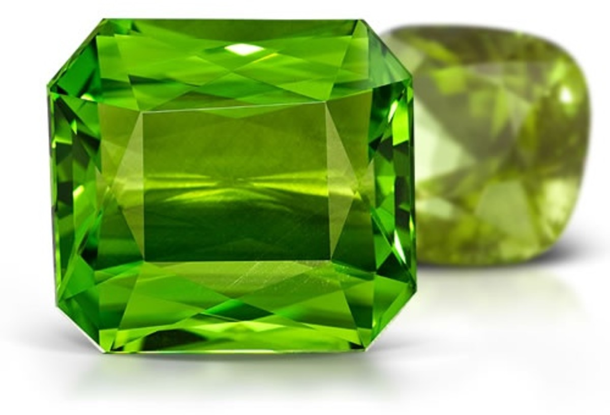 Peridot is a beautiful green stone, but unlike, emerald, is a yellowish green color instead of a deep green.