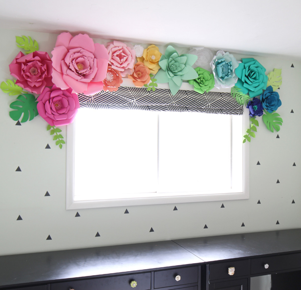 Make a giant paper flower window for a spring look year round