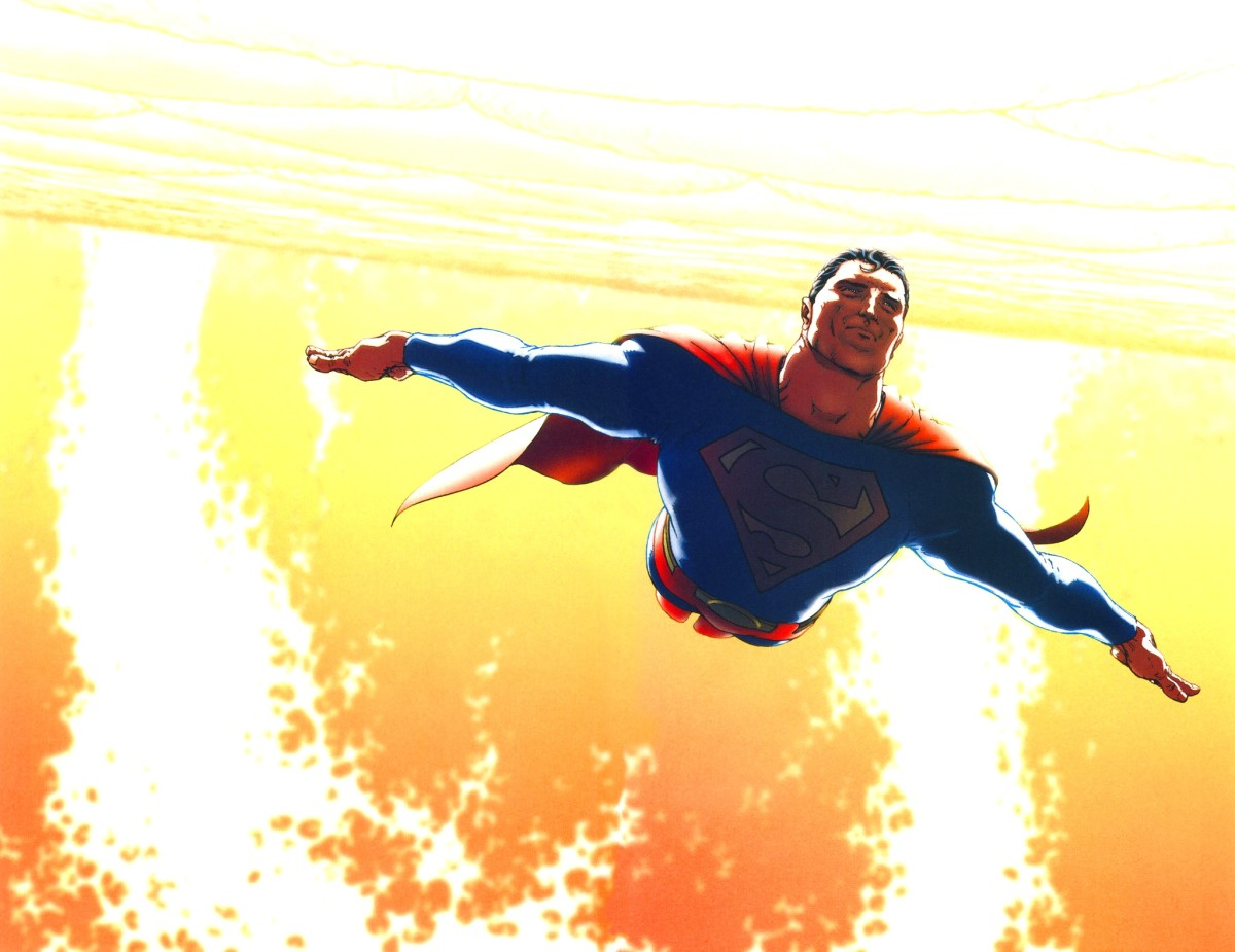 Superman flying in the the Sun's corona