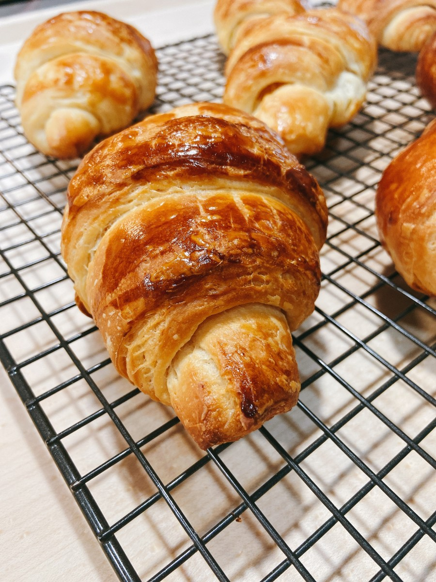 My latest batch of homemade croissants turned out great—flaky and very buttery!