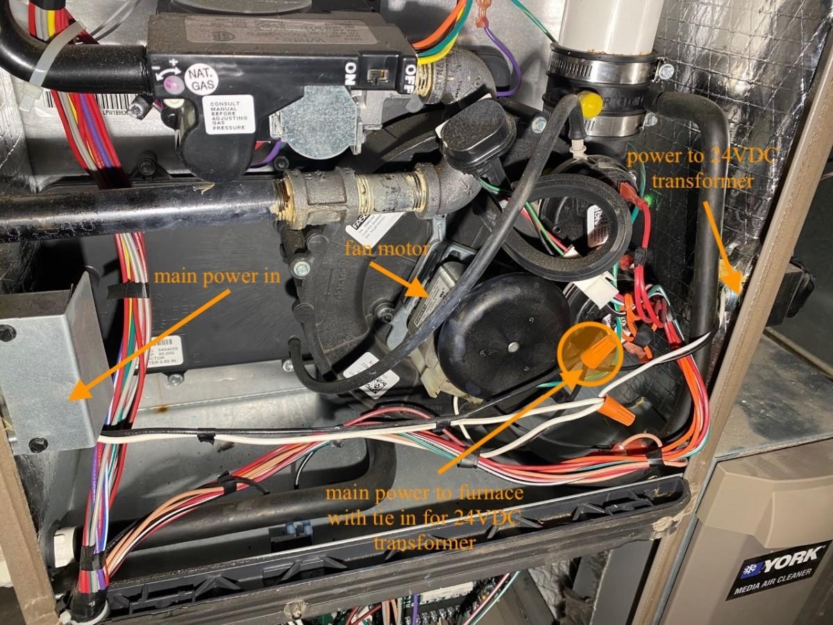 The bulk of furnace wiring