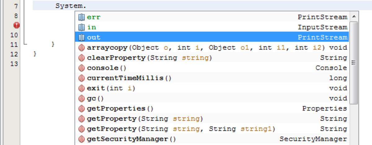 Java IntelliSense