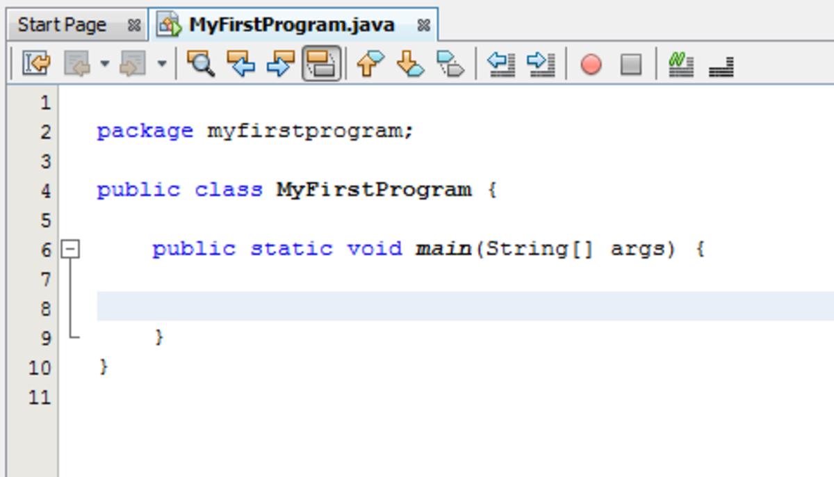 Java code editor window