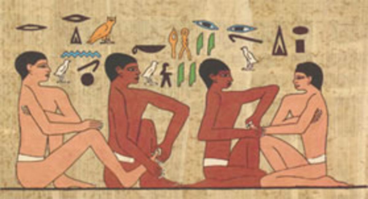 Ancient Egyptians doing foot and hand massages