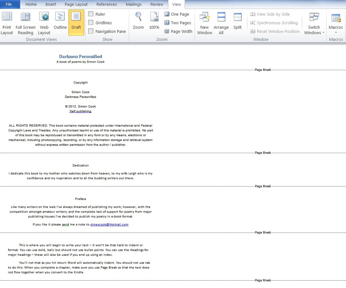 The basic format for an ebook using Microsoft Word 2010 - this is viewed in Draft Mode to show the page breaks. (Click picture to enlarge)