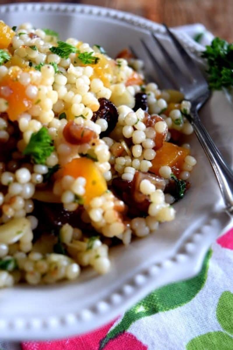 Israeli couscous dried fruit salad