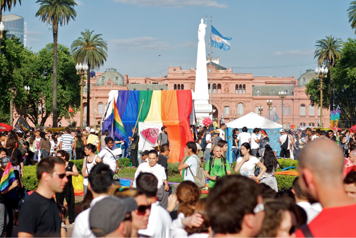 A 2010 pride parade in Plaza de Mayo, Buenos Aires, uses an initialism of LGBTIQ.