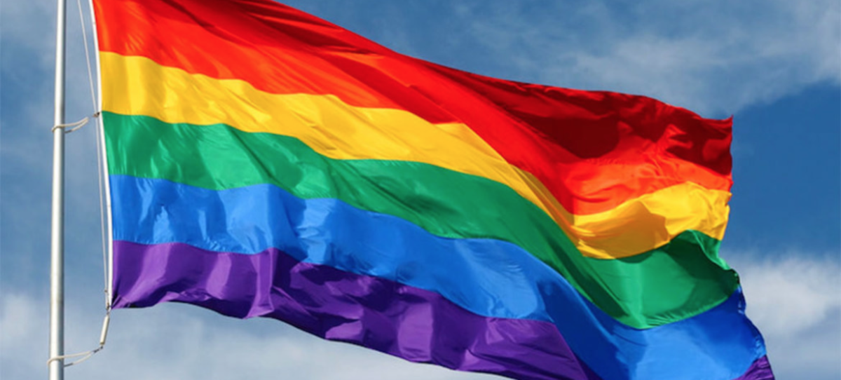 This six-band rainbow flag represents the LGBT community.