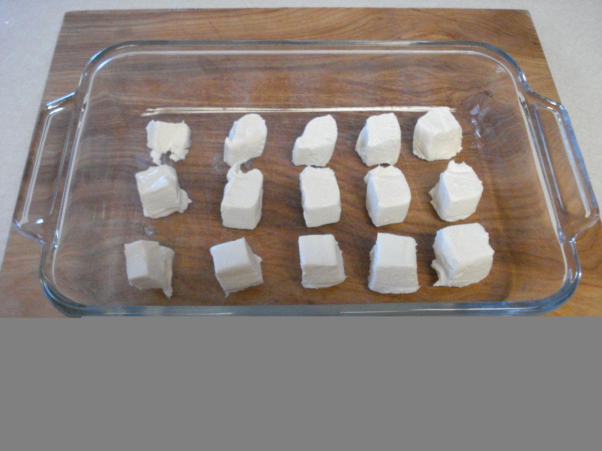 Cream cheese cubes