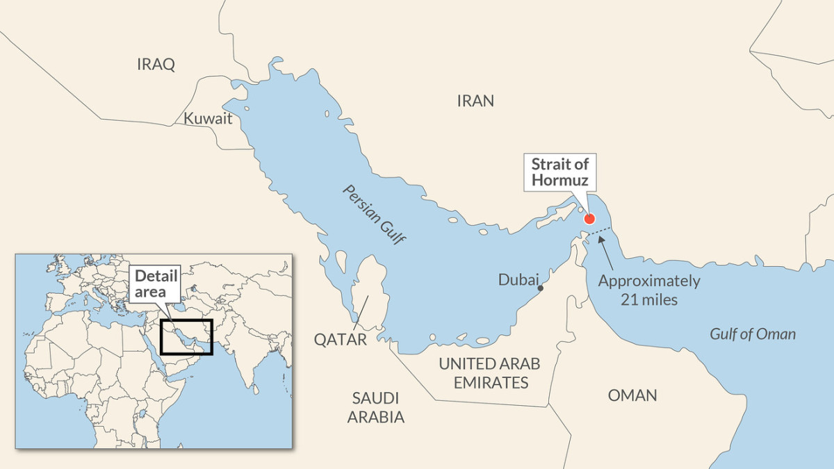 The Strait of Hormuz is a narrow waterway between the Persian Gulf and the Gulf of Oman
