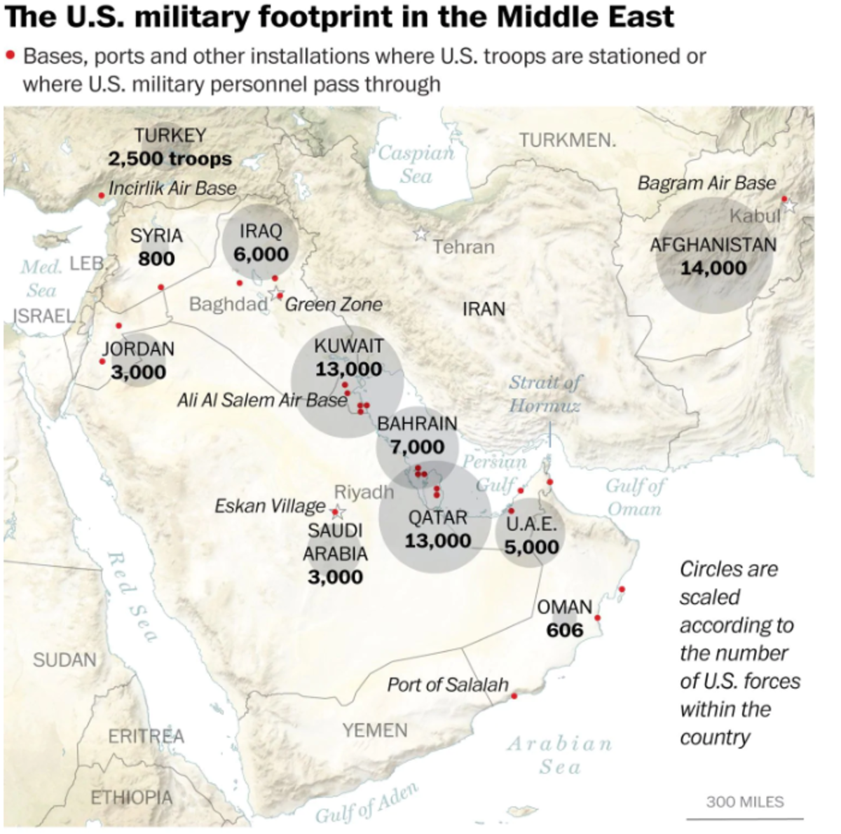 US troops stationed across the Persian Gulf