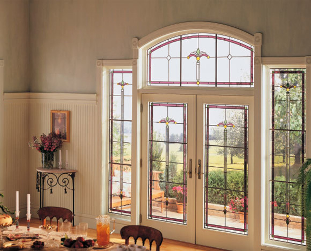 Glass Exterior Doors with transoms and sidelights