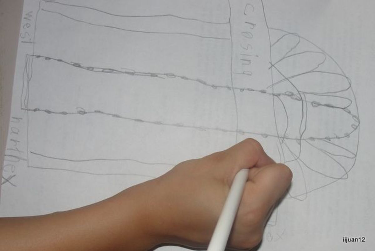 Drawing and labeling the parts of a cathedral (as done by a 7 year old student)