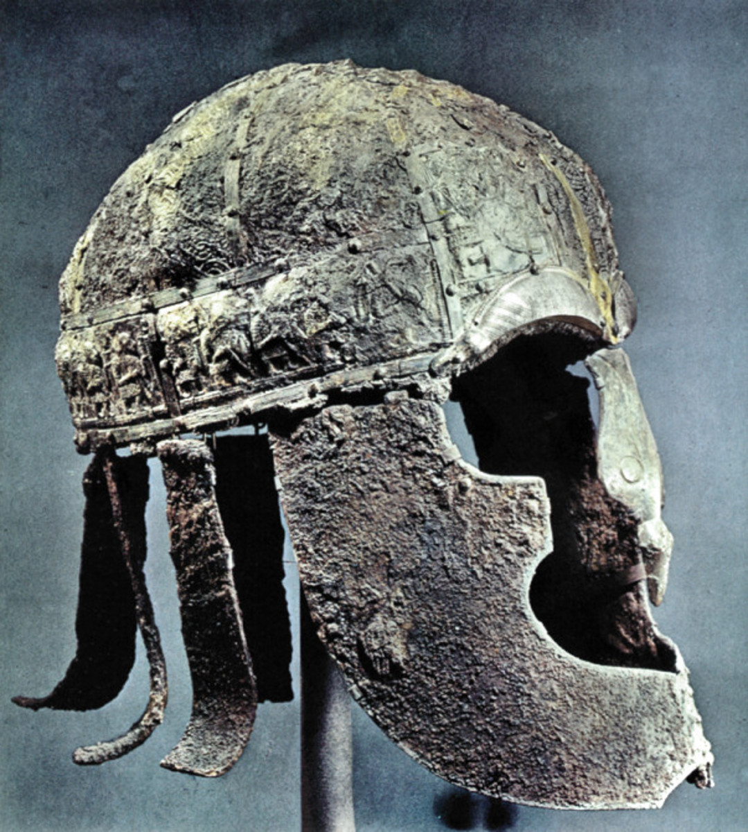 Vendel helm, found near Uppsala, Sweden. A fine example of a king's or nobleman's property from a burial mound, probably 7th Century