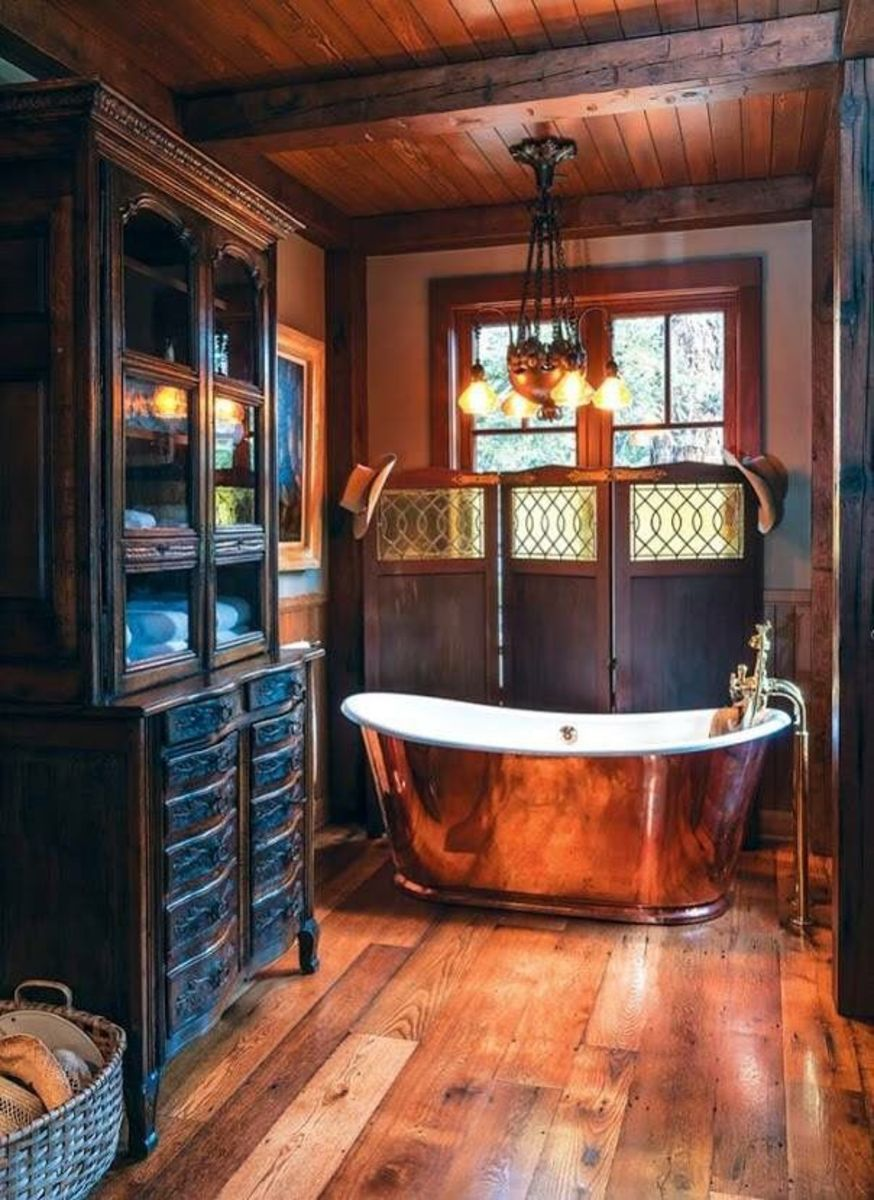 Steampunk elements look great in a Sagittarius home, particularly the bathroom.