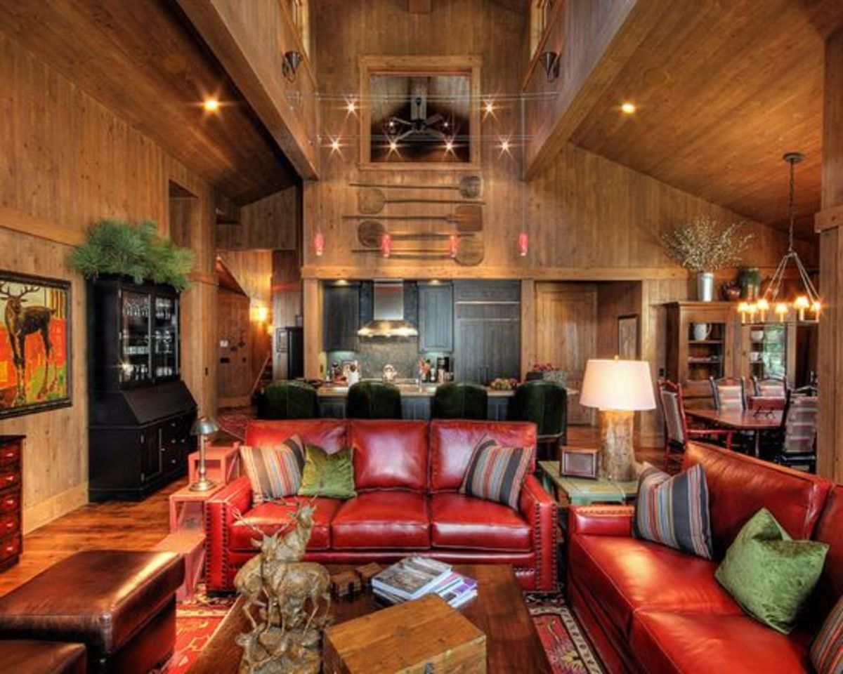 A Sagittarius living room will look sharp with plenty of lighting and accents in red and black.