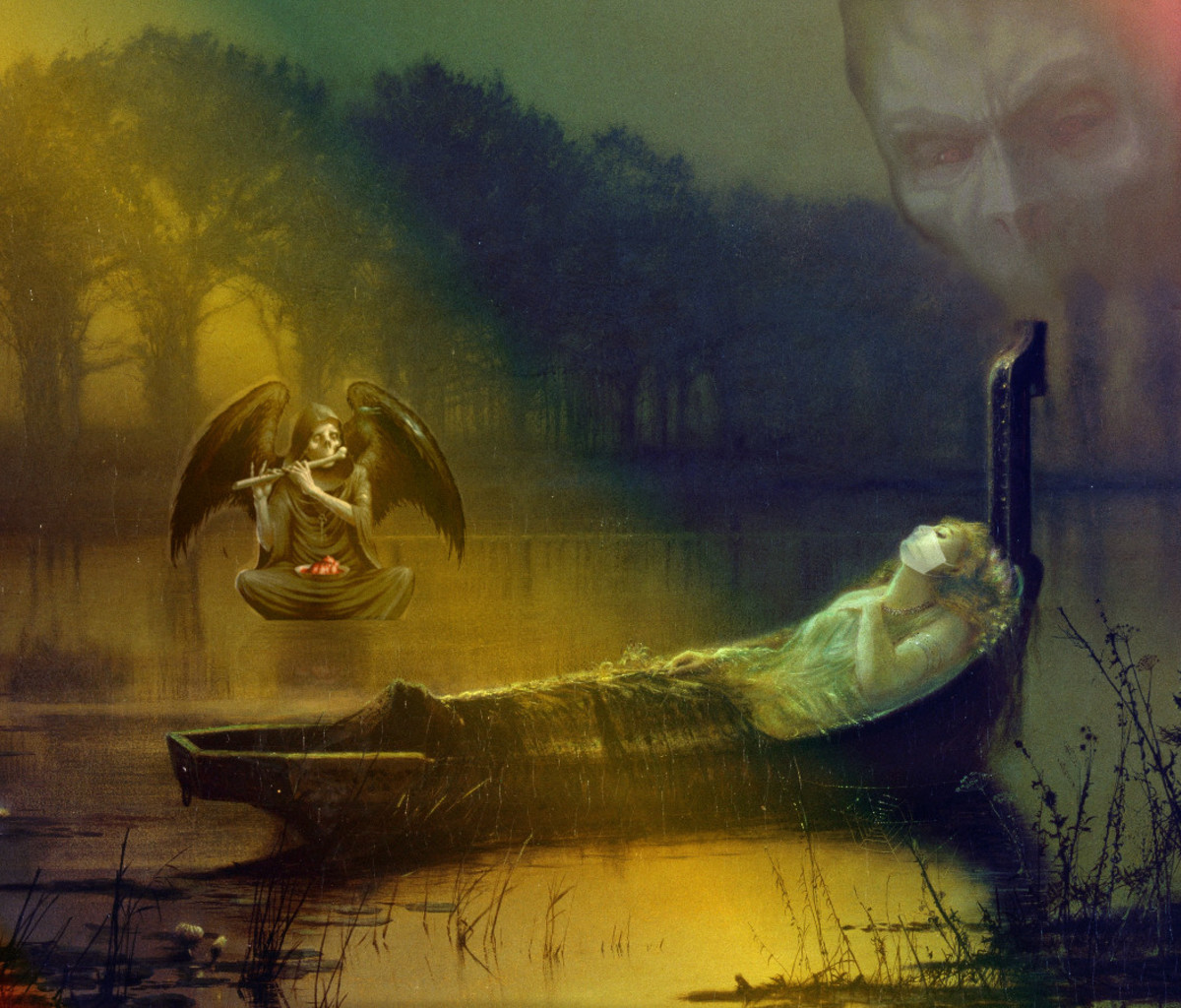 "Reworked image by R. G. Kernodle of John Atkinson Grimshaw's ""The Lady of Shalott"" to symbolize death of logic by face masks"