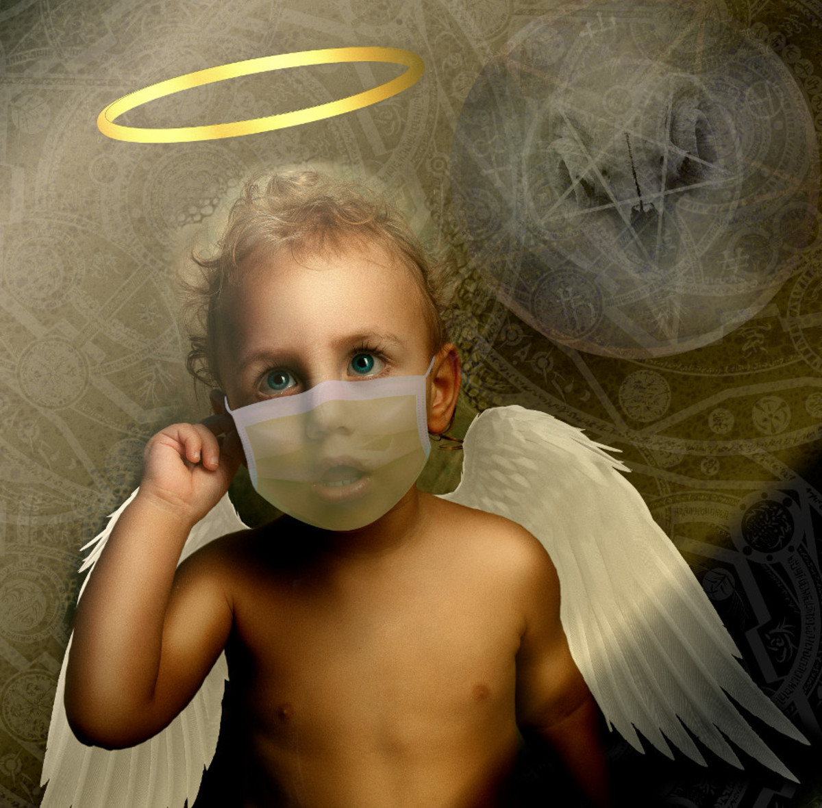Angelic child saved from Satan virus by face mask --  image compiled by R. G.  Kernodle