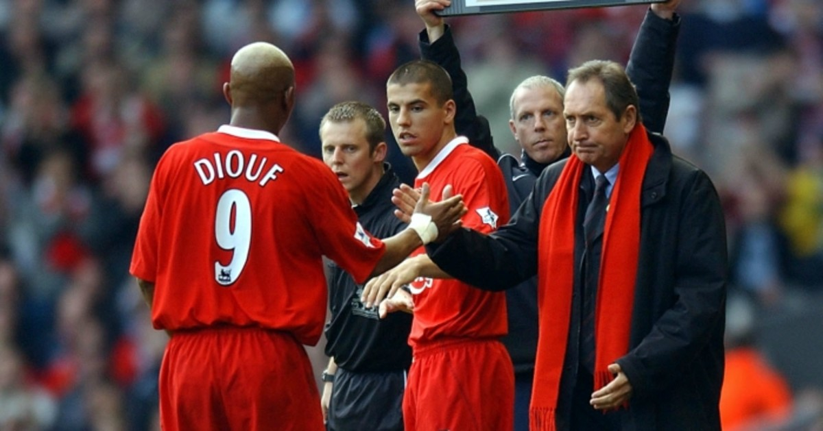 El-Hadji Diouf being Substituted off for Milan Baros in 2004.