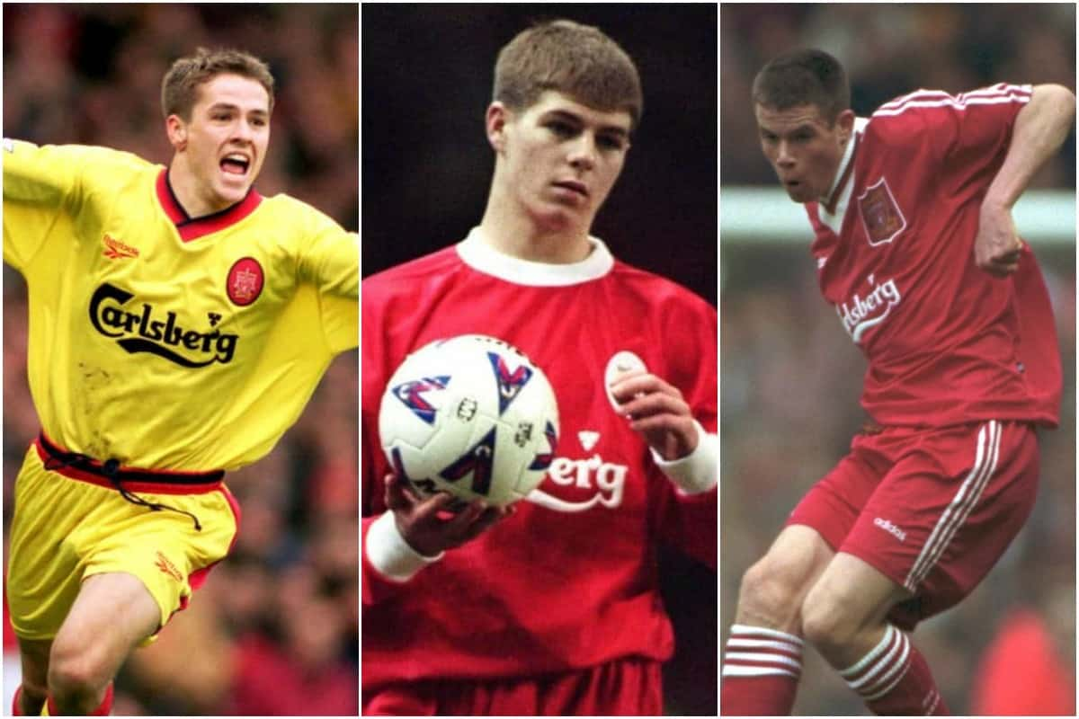 Michael Owen (Left), Steven Gerrard (Center) and Jamie Carragher (Right), has Gerard Houllier to thank for their debuts.
