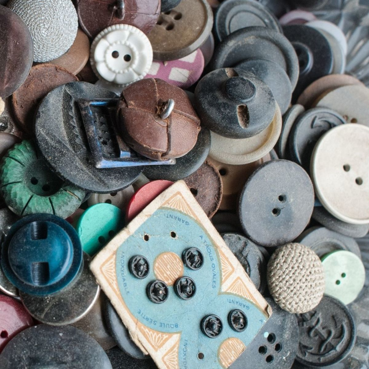 A vintage button's value depends on its size, material, condition, and age, among other factors.