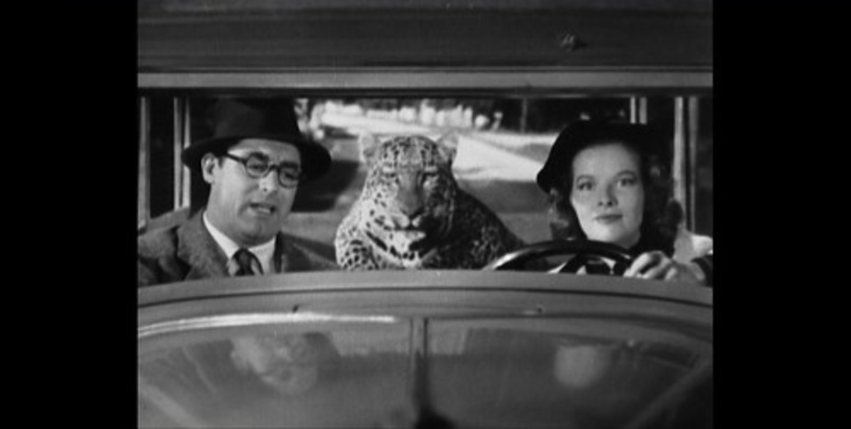 Cary Grant, Katherine Hepburn and Nissa the Leopard enroute to Connecticut