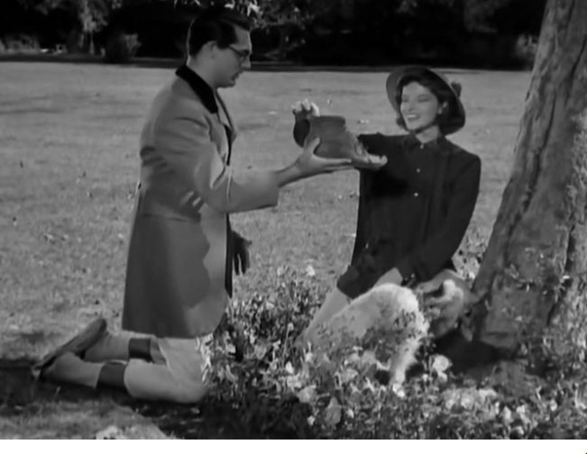 Cary Grant, Katherine Hepburn and Asta the dog dig up a boot instead of a bone