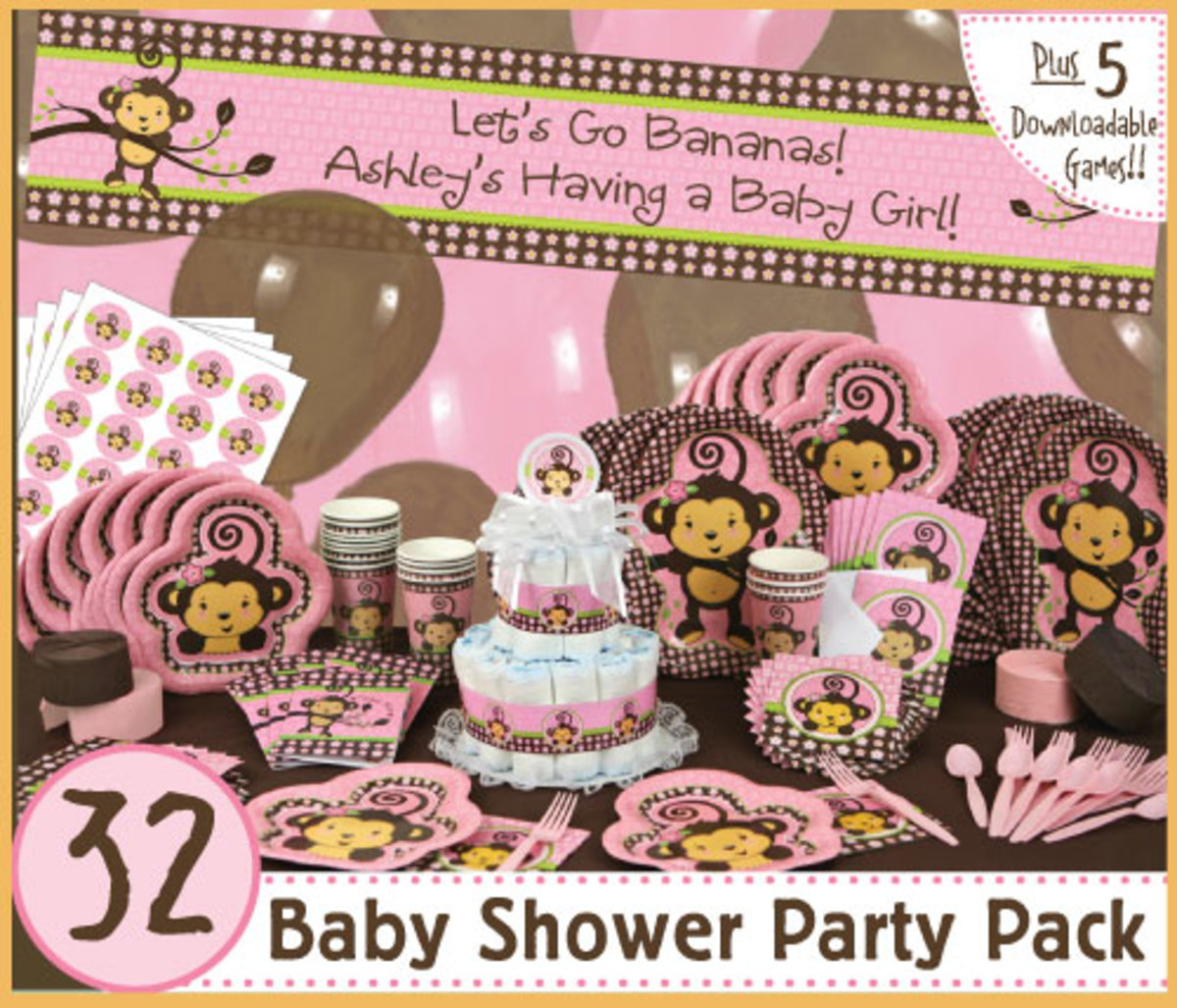 Monkey baby shower ideas decorations - Baby shower monkey decorations for a girl ...